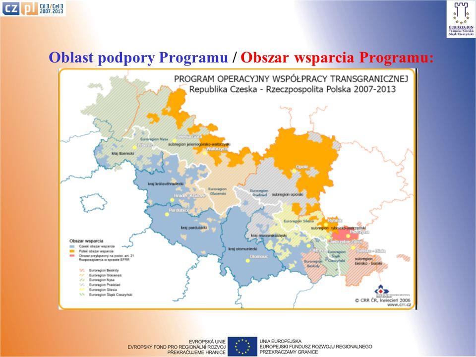 Oblast podpory Programu / Obszar wsparcia Programu: