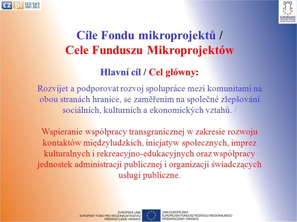 Cíle Fondu mikroprojektů / Cele Funduszu Mikroprojektów Hlavní cíl / Cel główny: Rozvíjet a podporovat rozvoj spolupráce mezi komunitami na obou stranách hranice, se zaměřením na společné zlepšování sociálních, kulturních a ekonomických vztahů.