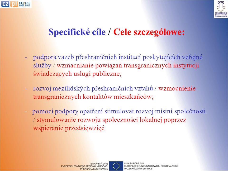 Specifické cíle / Cele szczegółowe: -podpora vazeb přeshraničních institucí poskytujících veřejné služby / wzmacnianie powiązań transgranicznych insty