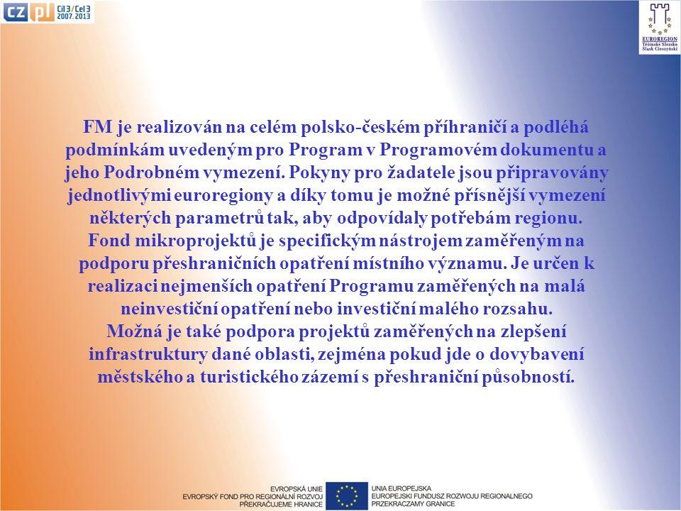 FM je realizován na celém polsko-českém příhraničí a podléhá podmínkám uvedeným pro Program v Programovém dokumentu a jeho Podrobném vymezení.