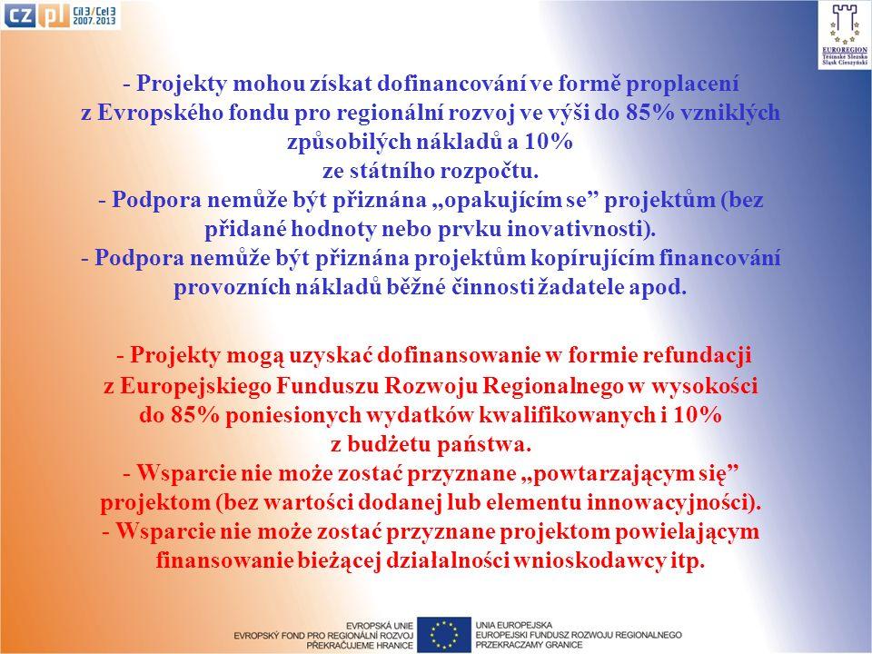 - Projekty mohou získat dofinancování ve formě proplacení z Evropského fondu pro regionální rozvoj ve výši do 85% vzniklých způsobilých nákladů a 10%