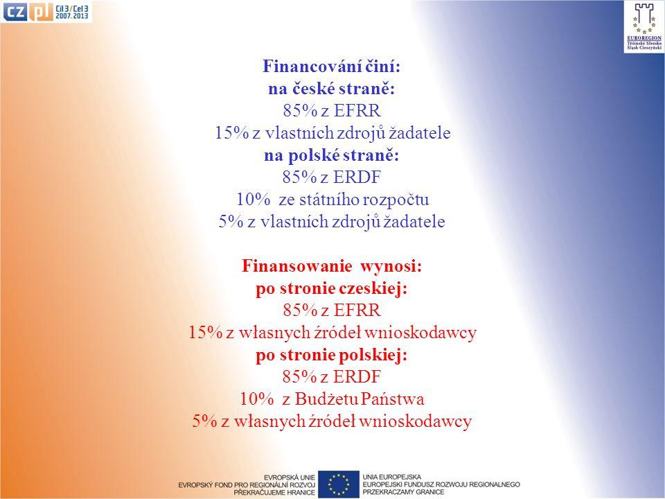 Financování činí: na české straně: 85% z EFRR 15% z vlastních zdrojů žadatele na polské straně: 85% z ERDF 10% ze státního rozpočtu 5% z vlastních zdrojů žadatele Finansowanie wynosi: po stronie czeskiej: 85% z EFRR 15% z własnych źródeł wnioskodawcy po stronie polskiej: 85% z ERDF 10% z Budżetu Państwa 5% z własnych źródeł wnioskodawcy