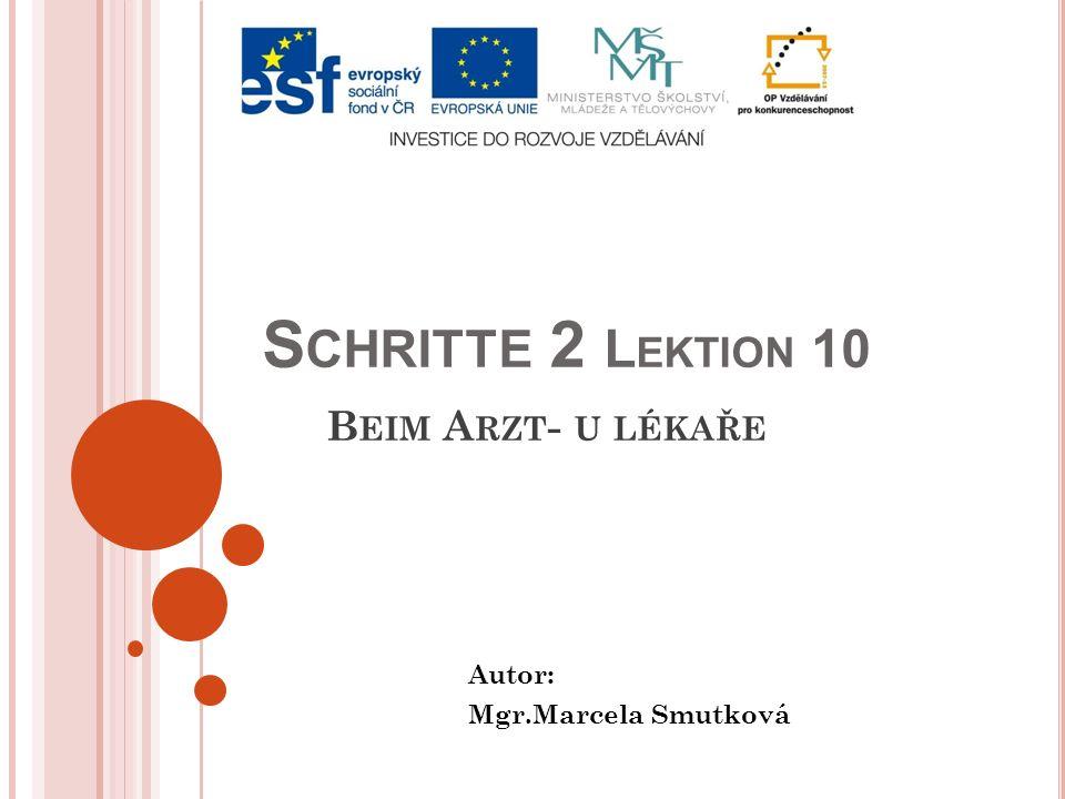 S CHRITTE 2 L EKTION 10 B EIM A RZT - U LÉKAŘE Autor: Mgr.Marcela Smutková
