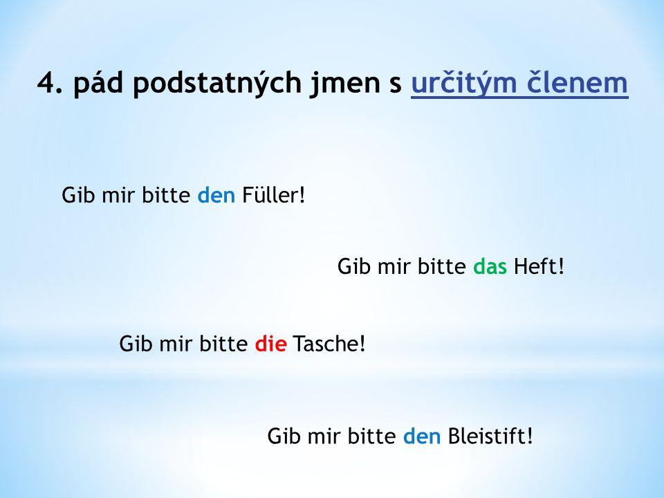 4. pád podstatných jmen s určitým členem Gib mir bitte den Füller.