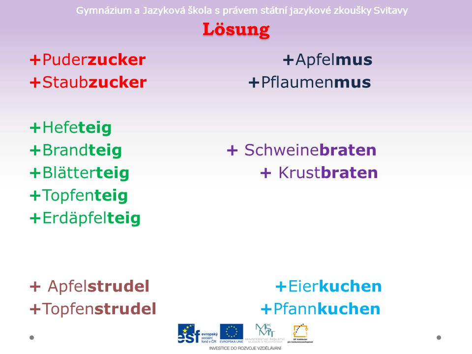 Gymnázium a Jazyková škola s právem státní jazykové zkoušky Svitavy Lösung +Puderzucker +Apfelmus +Staubzucker +Pflaumenmus +Hefeteig +Brandteig + Sch