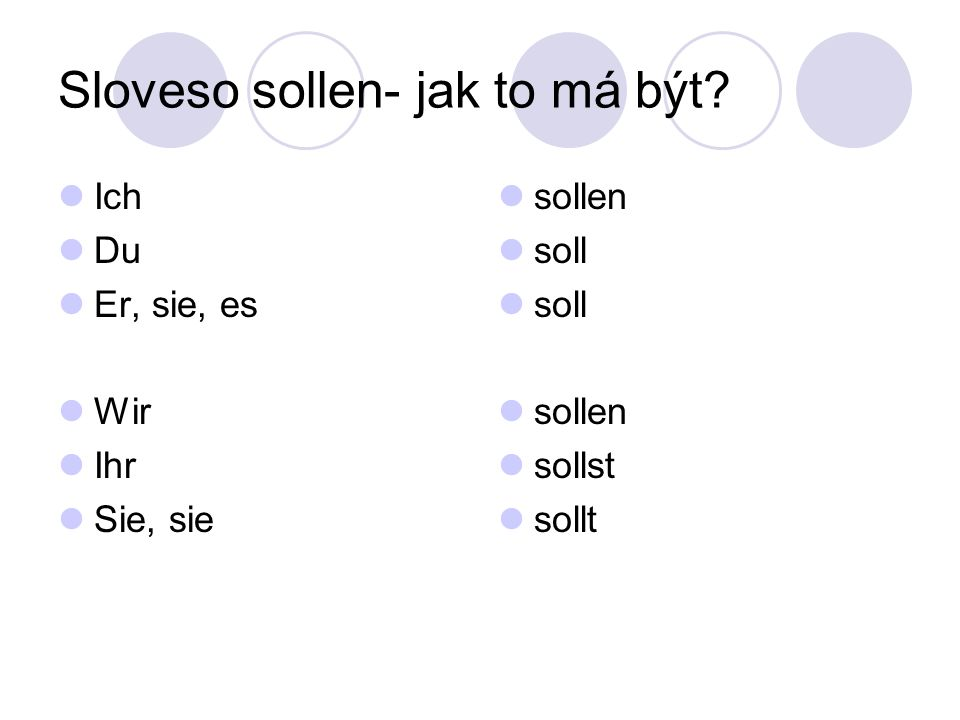 Sloveso sollen- jak to má být Ich Du Er, sie, es Wir Ihr Sie, sie sollen soll sollen sollst sollt