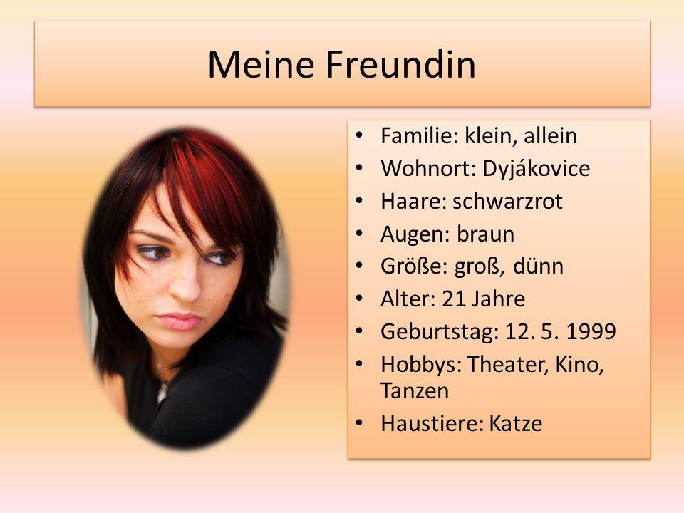 Meine Freundin Familie: klein, allein Wohnort: Dyjákovice Haare: schwarzrot Augen: braun Größe: groß, dünn Alter: 21 Jahre Geburtstag: 12.