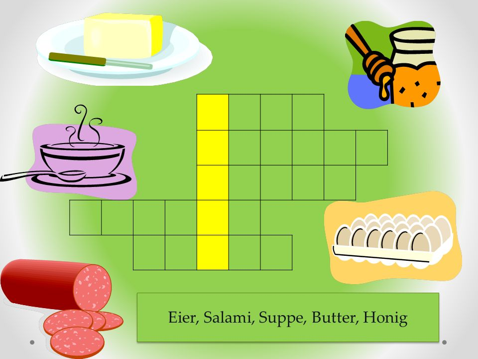 Eier, Salami, Suppe, Butter, Honig