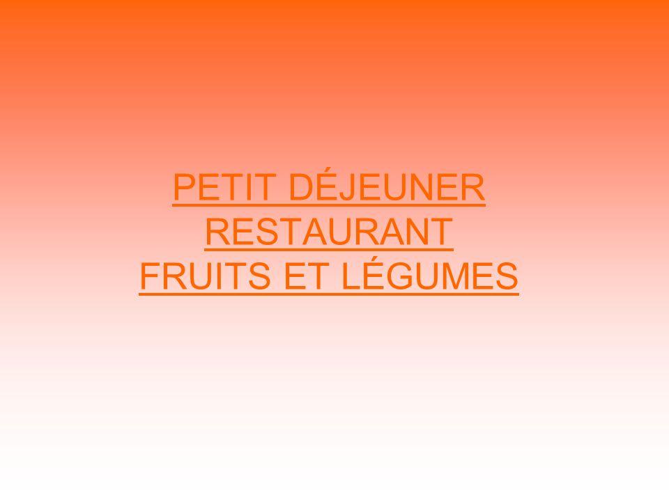 PETIT DÉJEUNER RESTAURANT FRUITS ET LÉGUMES