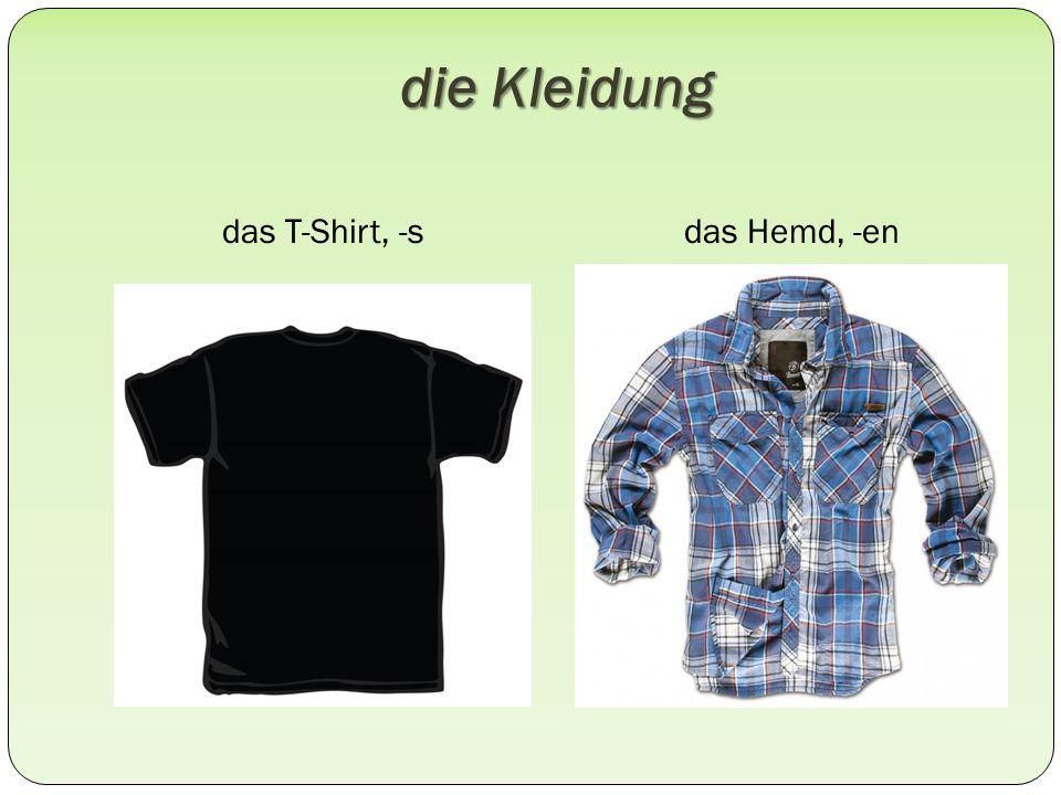 die Kleidung das T-Shirt, -sdas Hemd, -en