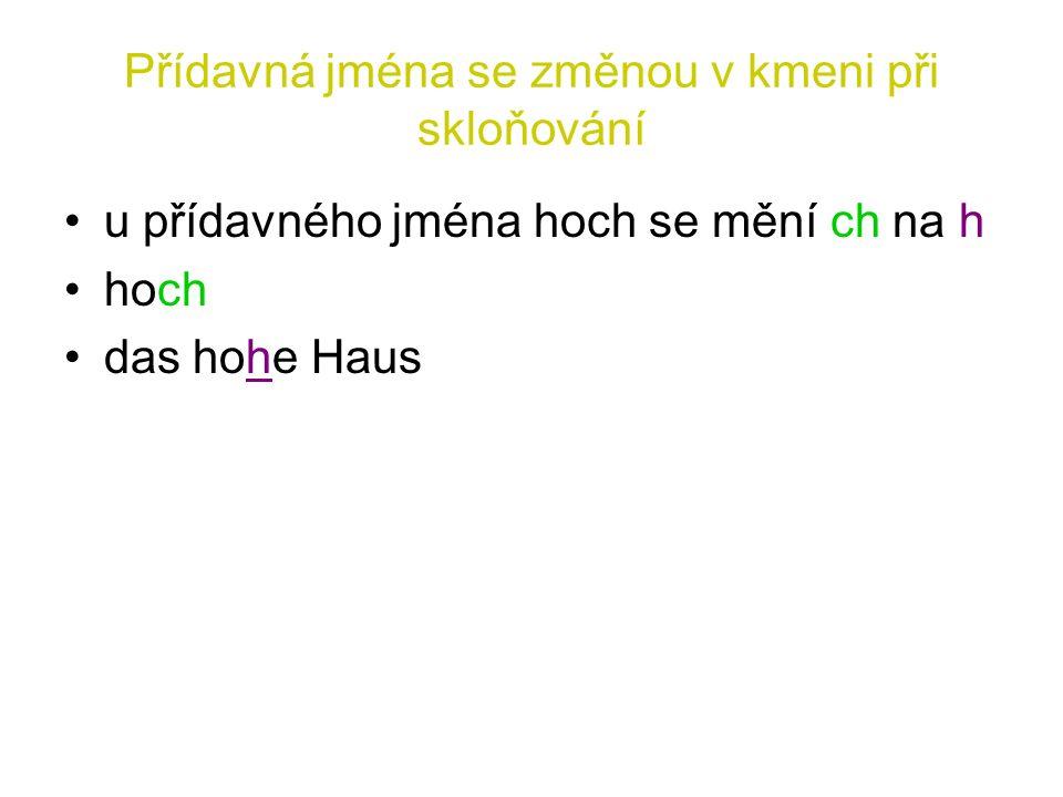 Přídavná jména se změnou v kmeni při skloňování u přídavného jména hoch se mění ch na h hoch das hohe Haus