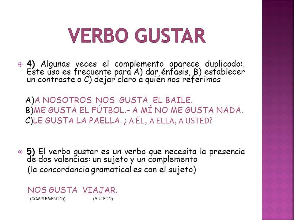  6) En las oraciones negativas usamos el no antes del pronombre del objeto directo NO LE GUSTA ESTUDIAR.