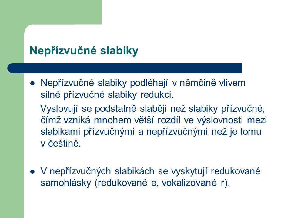 Nepřízvučné slabiky Nepřízvučné slabiky podléhají v němčině vlivem silné přízvučné slabiky redukci.