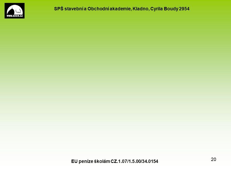 SPŠ stavební a Obchodní akademie, Kladno, Cyrila Boudy 2954 EU peníze školám CZ.1.07/1.5.00/34.0154 20
