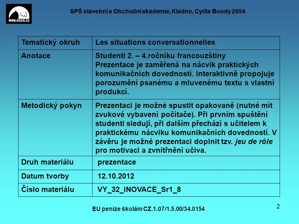 SPŠ stavební a Obchodní akademie, Kladno, Cyrila Boudy 2954 EU peníze školám CZ.1.07/1.5.00/34.0154 2 Tematický okruhLes situations conversationnelles