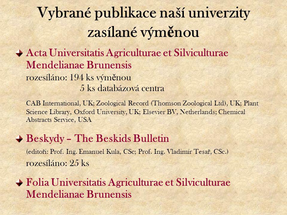 Vybrané publikace naší univerzity zasílané vým ě nou Acta Universitatis Agriculturae et Silviculturae Mendelianae Brunensis rozesíláno: 194 ks vým ě n