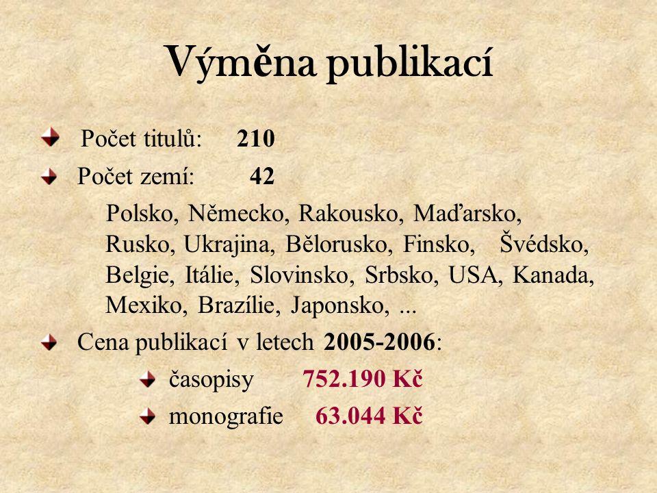 Vým ě na publikací Počet titulů:210 Počet zemí: 42 Polsko, Německo, Rakousko, Maďarsko, Rusko, Ukrajina, Bělorusko, Finsko, Švédsko, Belgie, Itálie, Slovinsko, Srbsko, USA, Kanada, Mexiko, Brazílie, Japonsko,...