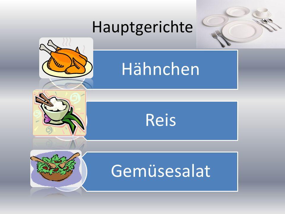 Hauptgerichte Hähnchen Reis Gemüsesalat