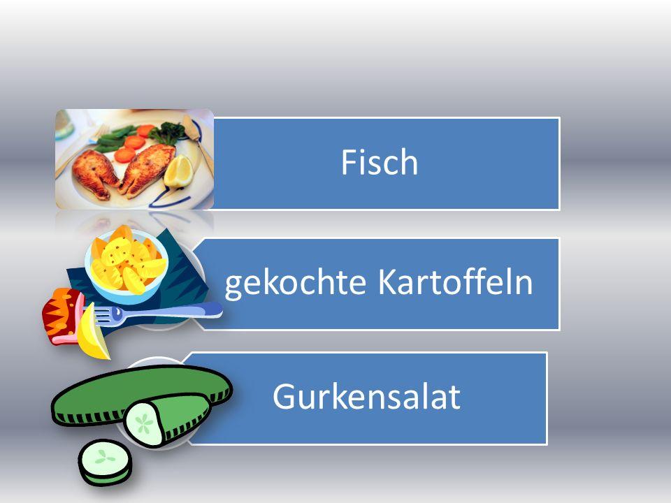 Fisch gekochte Kartoffeln Gurkensalat