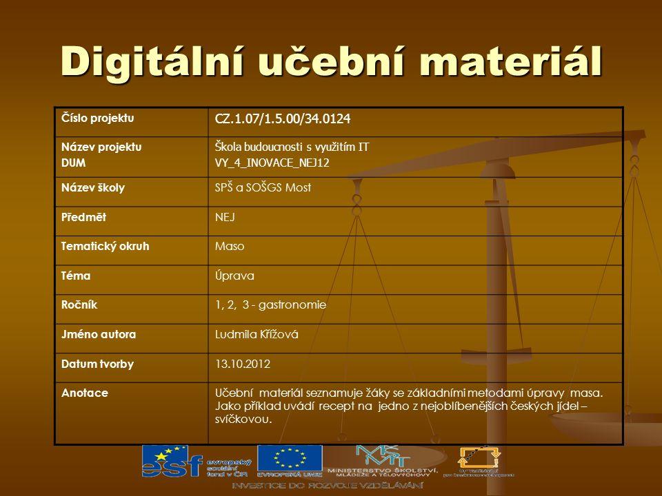 Digitální učební materiál Číslo projektu CZ.1.07/1.5.00/34.0124 Název projektu DUM Škola budoucnosti s využitím IT VY_4_INOVACE_NEJ12 Název školy SPŠ