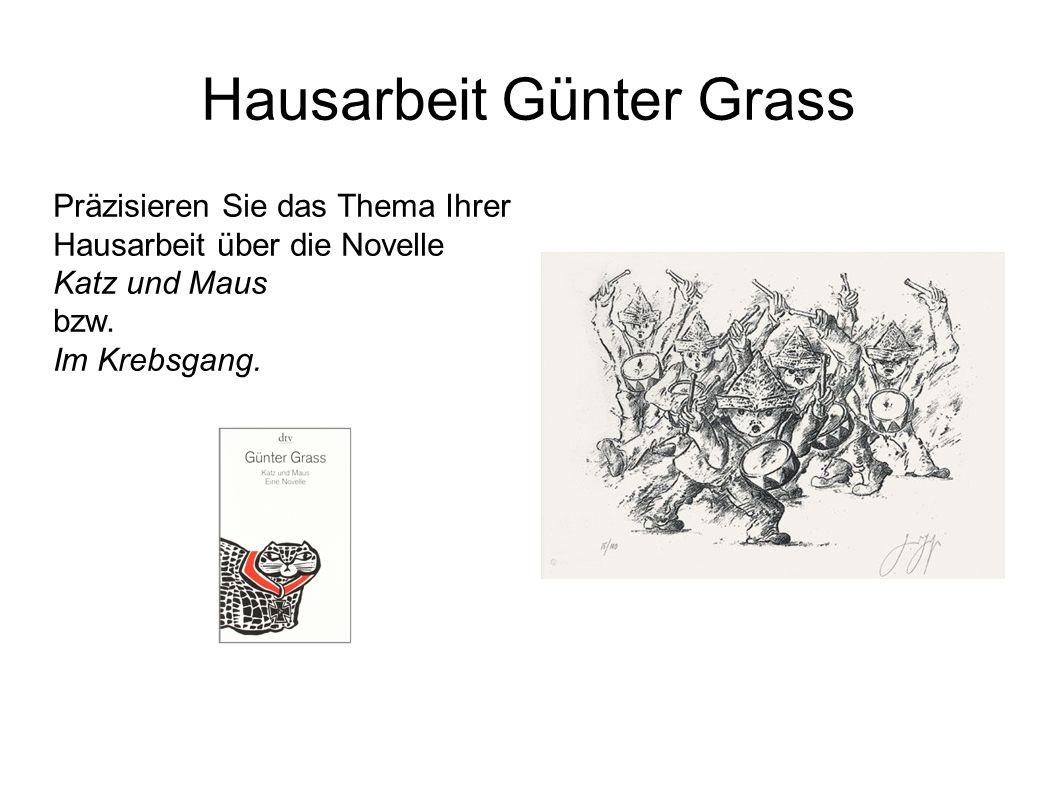 Hausarbeit Günter Grass Präzisieren Sie das Thema Ihrer Hausarbeit über die Novelle Katz und Maus bzw.
