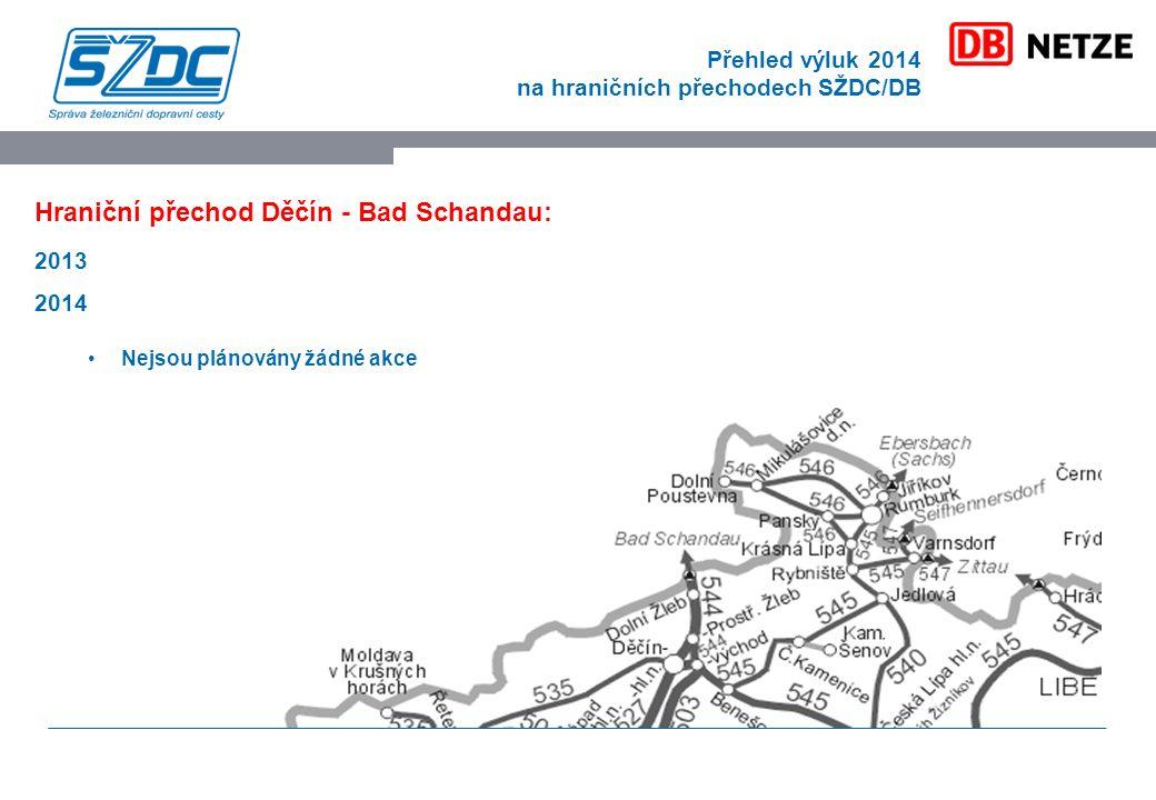 Přehled výluk 2014 na hraničních přechodech SŽDC/DB Hraniční přechod Děčín - Bad Schandau: 2013 2014 Nejsou plánovány žádné akce
