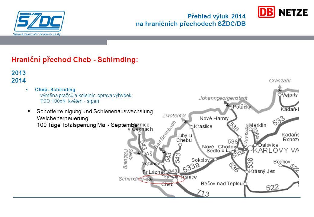 Přehled výluk 2014 na hraničních přechodech SŽDC/DB Hraniční přechod Cheb - Schirnding: 2013 2014 Cheb- Schirnding výměna pražců a kolejnic, oprava výhybek, TSO 100xN květen - srpen  Schotterreinigung und Schienenauswechslung Weichenerneuerung, 100 Tage Totalsperrung Mai - September