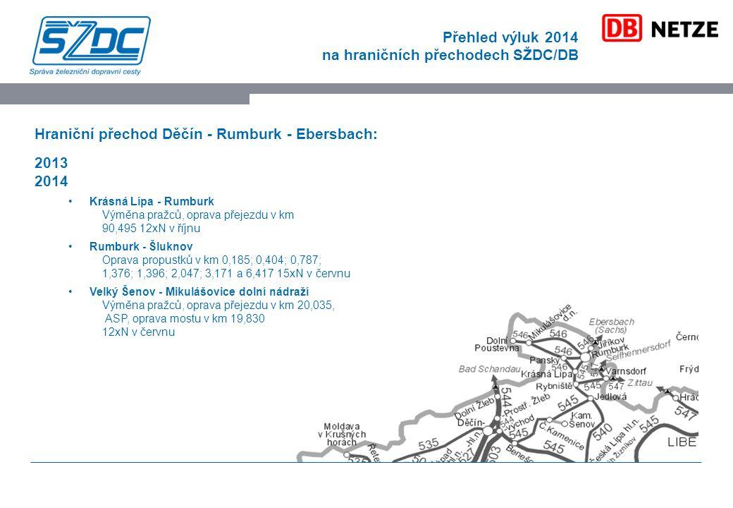 Přehled výluk 2014 na hraničních přechodech SŽDC/DB Hraniční přechod Děčín - Rumburk - Ebersbach: 2013 2014 Krásná Lípa - Rumburk Výměna pražců, oprava přejezdu v km 90,495 12xN v říjnu Rumburk - Šluknov Oprava propustků v km 0,185; 0,404; 0,787; 1,376; 1,396; 2,047; 3,171 a 6,417 15xN v červnu Velký Šenov - Mikulášovice dolní nádraží Výměna pražců, oprava přejezdu v km 20,035, ASP, oprava mostu v km 19,830 12xN v červnu