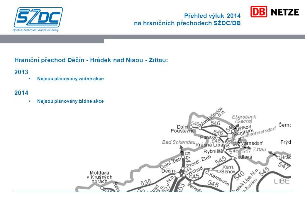 Přehled výluk 2014 na hraničních přechodech SŽDC/DB Hraniční přechod Děčín - Hrádek nad Nisou - Zittau: 2013 Nejsou plánovány žádné akce 2014 Nejsou plánovány žádné akce