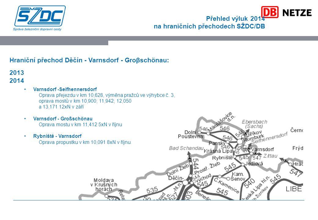 Přehled výluk 2014 na hraničních přechodech SŽDC/DB Hraniční přechod Děčín - Varnsdorf - Groβschönau: 2013 2014 Varnsdorf -Seifhennersdorf Oprava přejezdu v km 10,628, výměna pražců ve výhybce č.