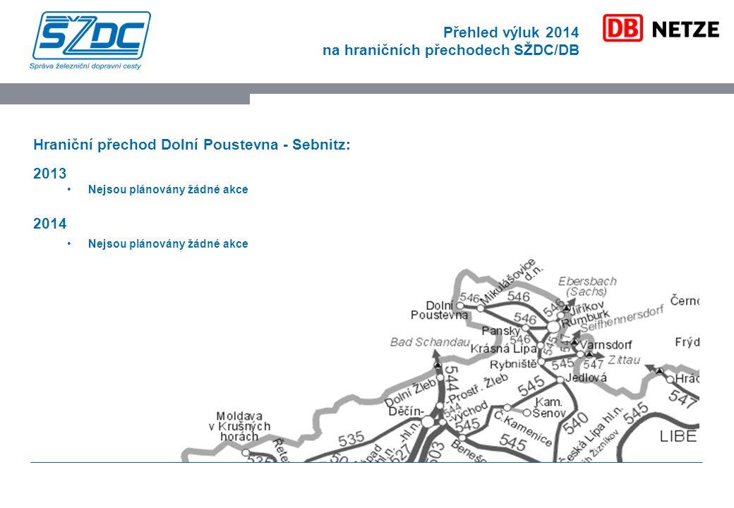 Přehled výluk 2014 na hraničních přechodech SŽDC/DB Hraniční přechod Dolní Poustevna - Sebnitz: 2013 Nejsou plánovány žádné akce 2014 Nejsou plánovány žádné akce