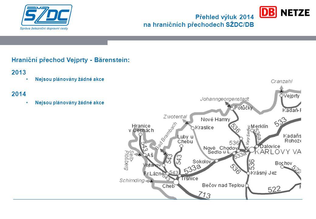 Přehled výluk 2014 na hraničních přechodech SŽDC/DB Hraniční přechod Vejprty - Bärenstein: 2013 Nejsou plánovány žádné akce 2014 Nejsou plánovány žádné akce