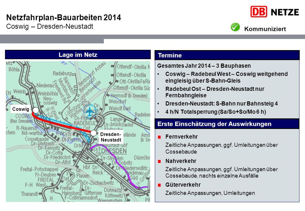 Netzfahrplan-Bauarbeiten 2014 Coswig – Dresden-Neustadt Lage im Netz Dresden- Neustadt Coswig Fernverkehr Zeitliche Anpassungen, ggf.