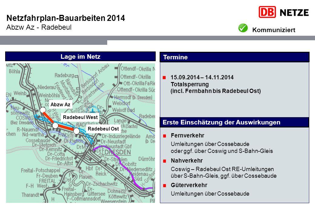 Netzfahrplan-Bauarbeiten 2014 Abzw Az - Radebeul Lage im Netz Radebeul West Abzw Az Fernverkehr Umleitungen über Cossebaude oder ggf.