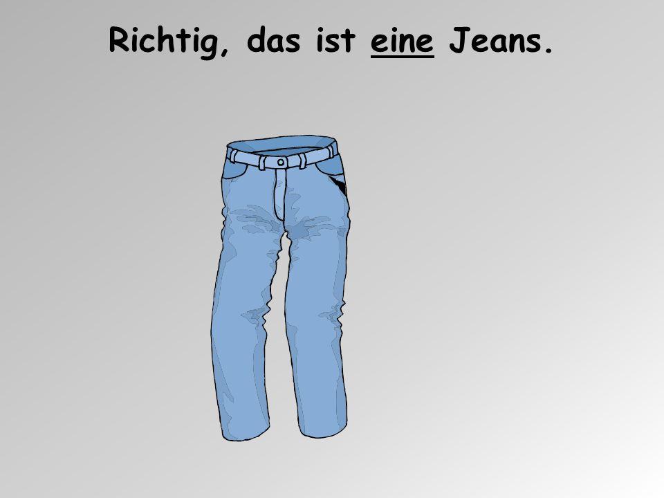 Ist die Jeans rot? Nein, die Jeans ist blau.