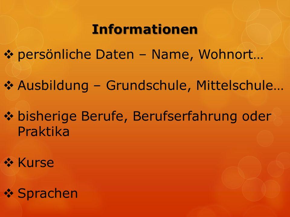  persönliche Daten – Name, Wohnort…  Ausbildung – Grundschule, Mittelschule…  bisherige Berufe, Berufserfahrung oder Praktika  Kurse  Sprachen Informationen