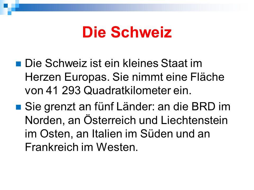 Hier gibt es vier Sprachgebiete: Deustch (65% der Bevölkerung) Französisch (18,5 %) Italienisch (10%) Rätoromanisch (1%) In den deutschschweizerischen Kantonen ist die Mundart Schwyzerdütsch (Schweizerdeutsch) – hier ist eine kleine Probe : http://www.youtube.com/watch?v=E3-UfPCubsE