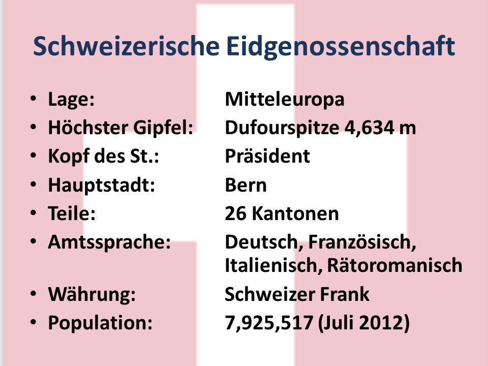 Schweizerische Eidgenossenschaft Lage:Mitteleuropa Höchster Gipfel:Dufourspitze 4,634 m Kopf des St.:Präsident Hauptstadt:Bern Teile:26 Kantonen Amtss