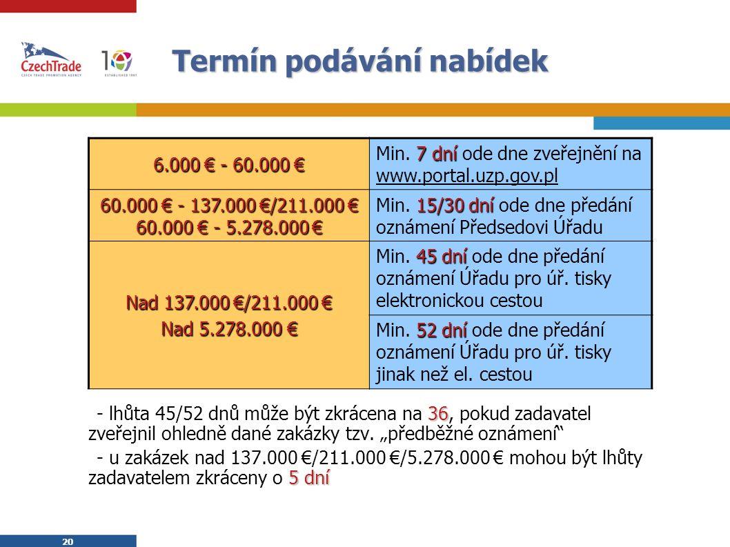 20 Termín podávání nabídek 36  - lhůta 45/52 dnů může být zkrácena na 36, pokud zadavatel zveřejnil ohledně dané zakázky tzv.