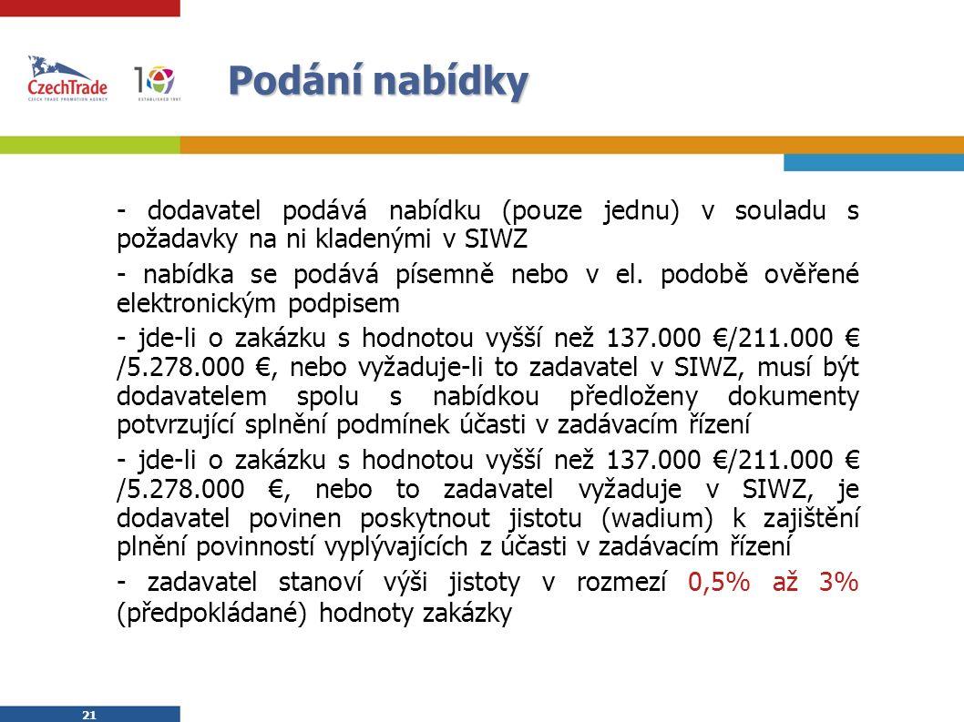 21 Podání nabídky - dodavatel podává nabídku (pouze jednu) v souladu s požadavky na ni kladenými v SIWZ - nabídka se podává písemně nebo v el.