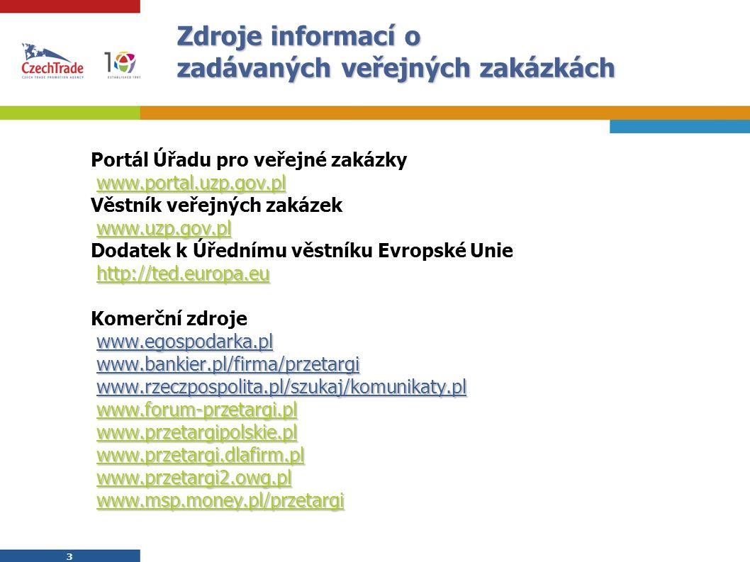 3 3 Zdroje informací o zadávaných veřejných zakázkách Portál Úřadu pro veřejné zakázky www.portal.uzp.gov.pl Věstník veřejných zakázek www.uzp.gov.pl