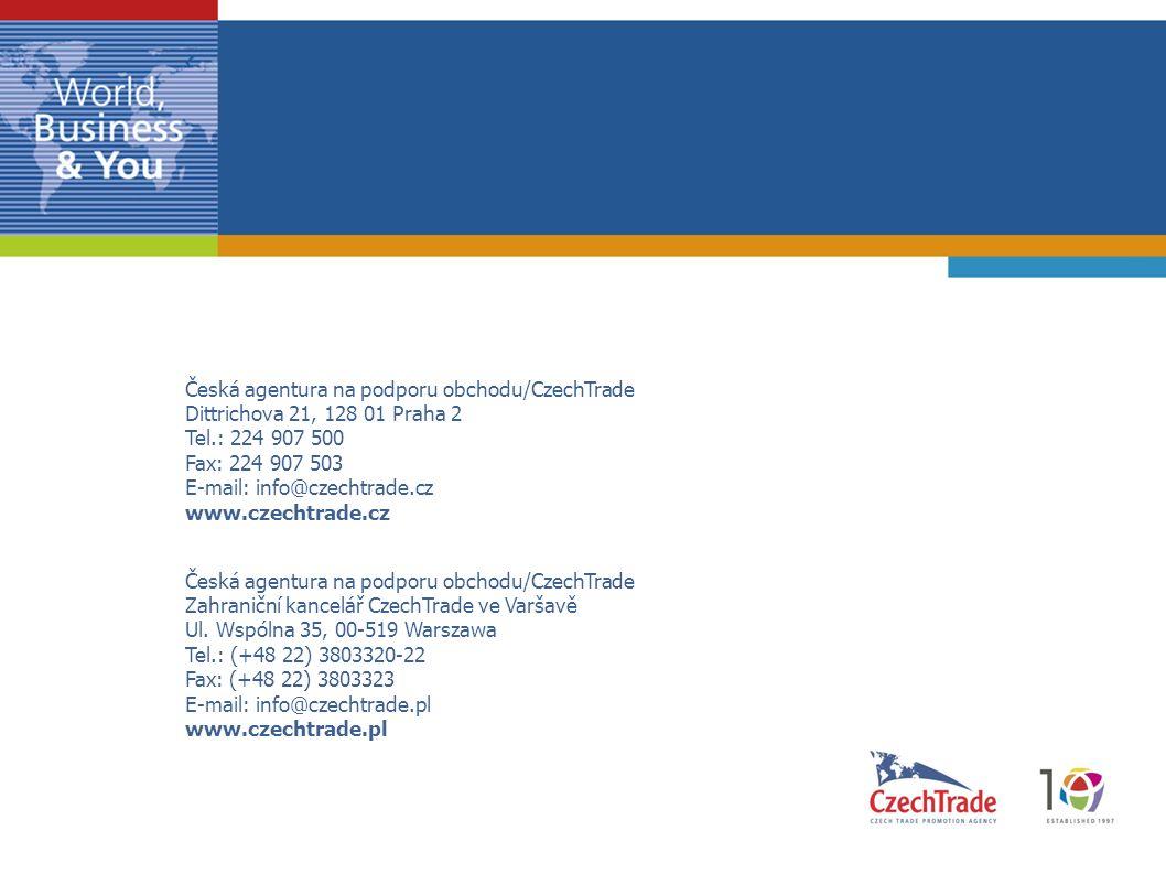 Česká agentura na podporu obchodu/CzechTrade Dittrichova 21, 128 01 Praha 2 Tel.: 224 907 500 Fax: 224 907 503 E-mail: info@czechtrade.cz www.czechtra