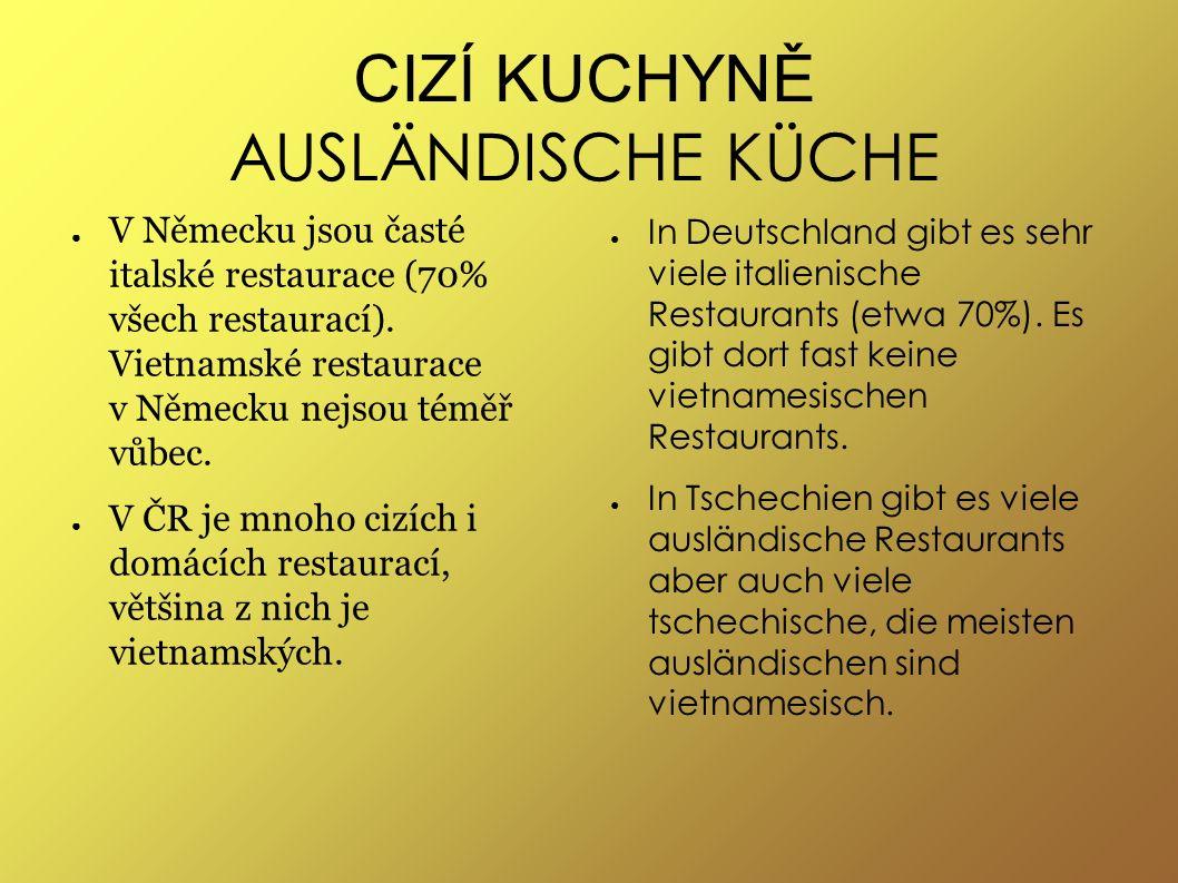 CIZÍ KUCHYNĚ AUSLÄNDISCHE KÜCHE ● V Německu jsou časté italské restaurace (70% všech restaurací).