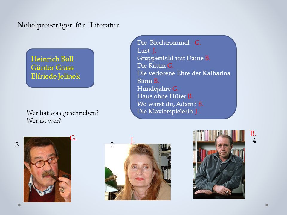 Nobelpreisträger für Literatur Heinrich Böll Günter Grass Elfriede Jelinek Die Blechtrommel G. Lust J. Gruppenbild mit Dame B. Die Rättin G. Die verlo