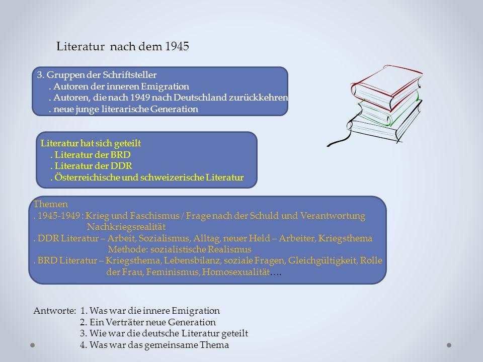 Literatur nach dem 1945 3. Gruppen der Schriftsteller.