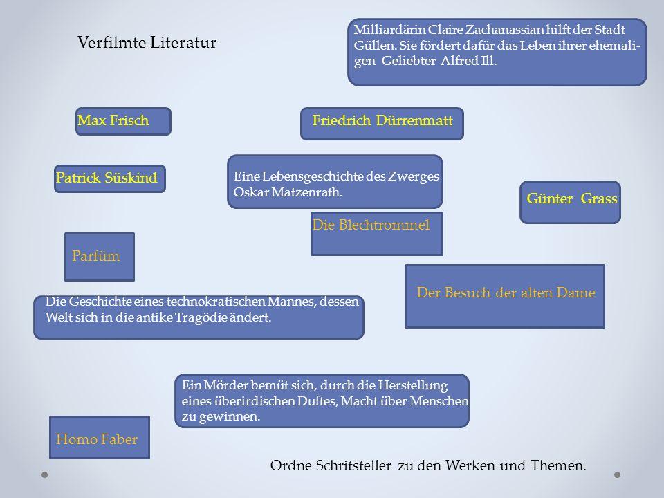 Verfilmte Literatur Max FrischFriedrich Dürrenmatt Günter Grass Patrick Süskind Die Blechtrommel Der Besuch der alten Dame Ein Mörder bemüt sich, durc