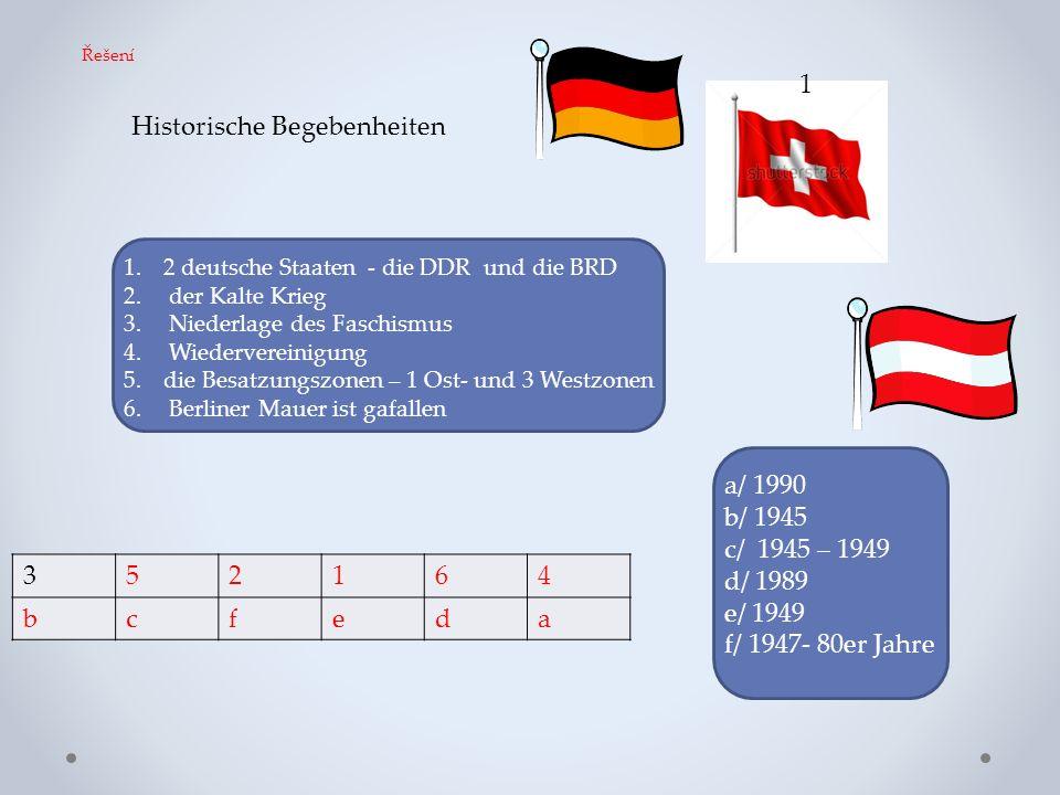 Historische Begebenheiten 1.2 deutsche Staaten - die DDR und die BRD 2. der Kalte Krieg 3. Niederlage des Faschismus 4. Wiedervereinigung 5.die Besatz