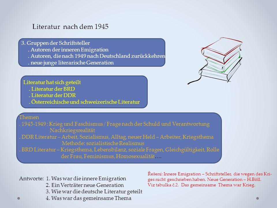 Literatur nach dem 1945 3. Gruppen der Schriftsteller. Autoren der inneren Emigration. Autoren, die nach 1949 nach Deutschland zurückkehren. neue jung