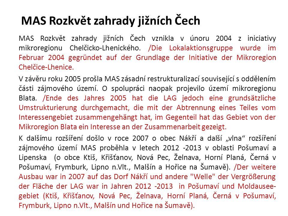 MAS Rozkvět zahrady jižních Čech Základní statistické údaje o MAS Statistische Angaben 2A.