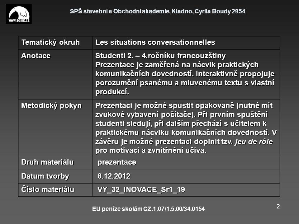 SPŠ stavební a Obchodní akademie, Kladno, Cyrila Boudy 2954 EU peníze školám CZ.1.07/1.5.00/34.0154 2 Tematický okruh Les situations conversationnelle